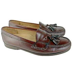 COLE HAAN CITY Mens SIZE 9.5 BURGUNDY Brown Leather Pinch Toe Tassel Loafers