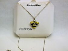 Bee Pendent - Sterling Silver and SS Crystal Accents - 18 inch silver chain