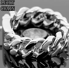 "STAINLESS STEEL CUBAN CURB LINK SILVER BRACELET 8.8""x 20MM156g/BR57"