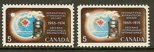 Canada 1968 Hydrological Decade Paper Variety - Sc 481 & 481i Hibrite (HB) `MNH