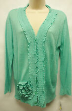 "*NWT Adorable Fever ""Aquatic"" Embellished Button Down Cardigan Sweater sz Medium"