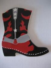Ceramic Red/Black Cowboy Boot White StarsTrivet/Wall Hanger New 8in.W x 9in. L