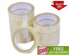12 Big Rolls Of Clear Tape Strong Parcel Sellotape Packing Cellotape 25mm x 66m