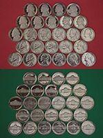 1980 1981 1984-1989 P D Mint BU & 1980-1989 S Dp Cameo Proof Jefferson Nickels