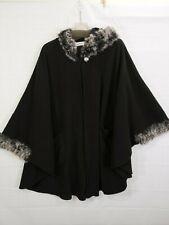 LEMODA Women's Plus Black Fir Trimmed 1 Button Hooded Cloak size 3X
