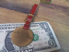Vintage CUMMINS Brass Pocket Watch Fob w/Strap Road Construction