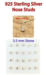 NOSE STUD * 925 Sterling Sil* 3.5 mm  Crystal Zircon * WITH TIP* WITHOUT TIP *