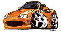 1999-2005 mazda miata mx-5 mx5 Orange Cartoon T-shirt available in sizes S-3XL