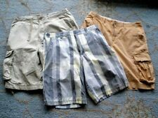 Lot of 3  Mens Cargo Shorts  Khaki /Plaid Tan Brown Excellent condition