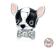 Chihuahua Dog Charm 925 Sterling Silver Bangle Enamel Jewelry Pet Bead