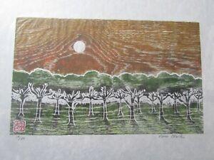 Tree Orchard Forest woodcut woodblock print Japanese moku hanga washi signed