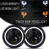 Pair 7inch Round LED Headlight /w Halo Angle Eyes Fit Jeep Wrangler JK LJ TJ