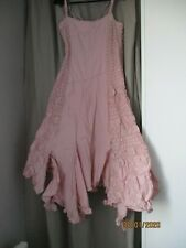 INDIES robe remarquable coton 36 semi longue rose shabby T 1 36