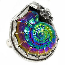 Titanium Aura Shell 925 Sterling Silver Ring Jewelry s.9 RR52006