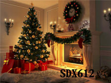 7x5FT Christmas Tree Presents and Fireplace Polyester Photo Background Backdrop