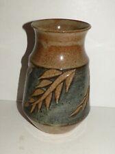 B & J Mitchell St. Croix Pottery Vase Stoneware Leaves