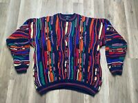 Vtg 90's Cotton Traders Multicolor Biggie Coogi Cosby Hip Hop Textured Sweater L