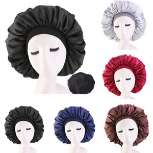 Large Night Sleeping Cap Hair Bonnet Hat Head Cover Satin Wide Band Adjust Caps