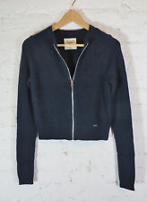 ABERCROMBIE & FITCH NEW YORK women's rabbit hair zipped cardigan, S, Navy blue