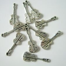 10 Guitar Antique Silver Charms, 26x10mm, Jewelry Supplies, Charms  (1081)