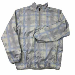 Light Blue Plaid NIKE GOLF Athletic Jacket Women's Sz Medium Long Sleeve EUC