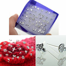 Women Wholesale 24 Pair Mixed 925 Silver Stud Earrings Jewelry Fashion CHIC