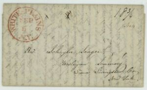 Mr Fancy Cancel STAMPLESS FLS RED WHITE PLAINS NY CDS 18 3/4 1838 3PG LETTER