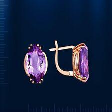 Ohrringe mit Amethyst Marquise Russisches Goldschmuck Rotgold 585 Neu rose Gold