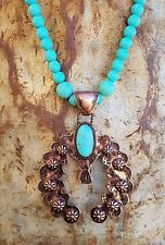COWGIRL GYPSY COPPER SQUASH BLOSSOM Turquoise stone beads Western NECKLACE set