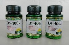 SET OF 3 - Nature's Bounty D3-400 IU - 100 Tablets Each - Exp 3-17+