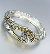 Designer Balinese Gold Caviar Dots Buckle Silver Cable Hinged Bangle Bracelet