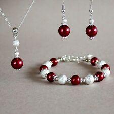 Dark red pearls wine red pearls silver stardust wedding bridesmaid jewellery set