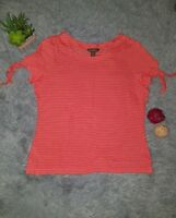 Tommy Bahama Women's LINEN Pink Orange Small Striped Short Sleeve Casual Shirt