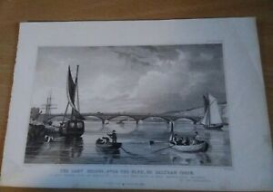 Antique Engraving Print - The Lary Bridge, over the Plym, or Saltram Creek 1829