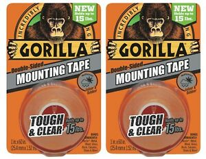 """Gorilla Mounting Tape Tough & Clear Double Sided 2 Rolls 1""""x60"""" ea Weatherproof"""