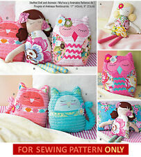 SEWING PATTERN! MAKE CLOTH DOLL~OWL~CAT TOYS~PILLOWS! STUFFED BED DECORATIONS!