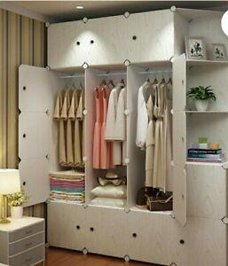 Solid Armoire Wardrobe Closet Storage Cabinet Organizer new clothes hanging
