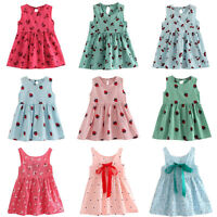 Baby Girls Summer Princess Dress Kids Party Wedding Sleeveless Dresses 2-11Y