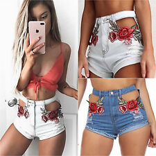 Womens Floral Embroidered High Waist Ripped Denim Shorts Summer Jeans Hot Pants