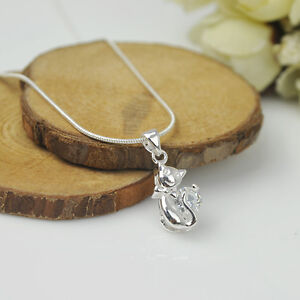 925 Sterling Silver Plated Fashion Women Cat Pendant Without Chain Jewelry Gift