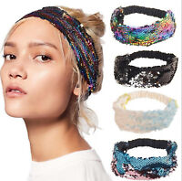 Women Girl Retro Sequins Sequined Bling Dance Party Headband Hair Head Band