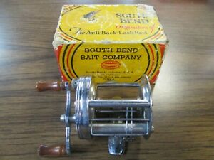 Vintage South Bend Anti-Back-Lash #450B Level Wind Fish Reel w/ Box