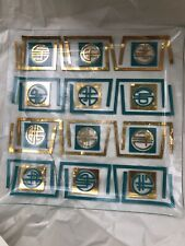 "Vintage MCM Serving Tray Square 10 3/4"" X 10 3/4"" Turquoise Gold"