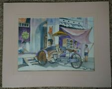 Penang watercolor print, Signed by Artist Lee Hoadi, Matted, Shrink-wrapped