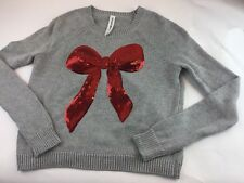 Bethany Mota Sweater XS Long Sleeve Sequined Bow Gray Used
