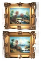 Antique/Vintage Oil Paintings On Board Landscape Gilt Frames Signed