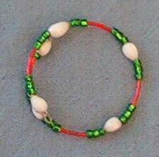 Wrap bracelet: White Hawaiian Job's Tears, green seed beads and red bugle beads