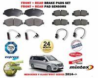 FOR MERCEDES V CLASS W447 2014-> FRONT + REAR BRAKE PADS SET + WARNING SENSORS