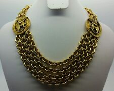 CHANEL Gold-Tone Statement Chain Centaur Necklace Vintage 1984 EUC