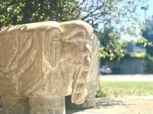 Antique European Hand Carved Elephant Solid Wood Table